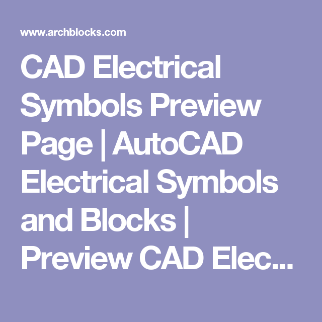 Cad Electrical Symbols Preview Page Autocad Electrical Symbols And