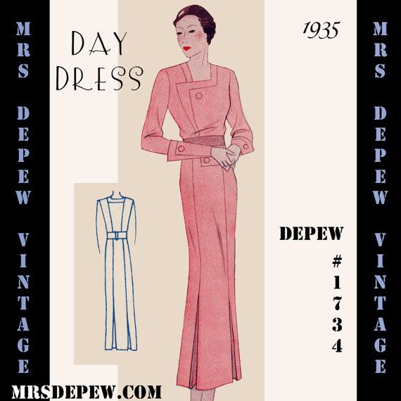 Vintage Sewing Pattern 1930\'s Evening Gown in Any Size Depew 1121 ...