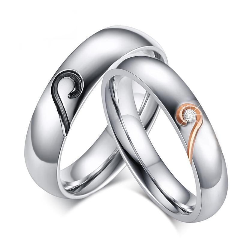 Black And Rose Gold Joining Heart Stainless Steel Couple Rings Cincin Dekorasi Pernikahan Pernikahan