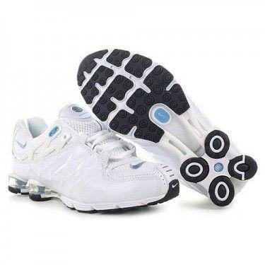 723b20cd218 Nike Shox Chaussures Blanc Et Bleu Femme 755635