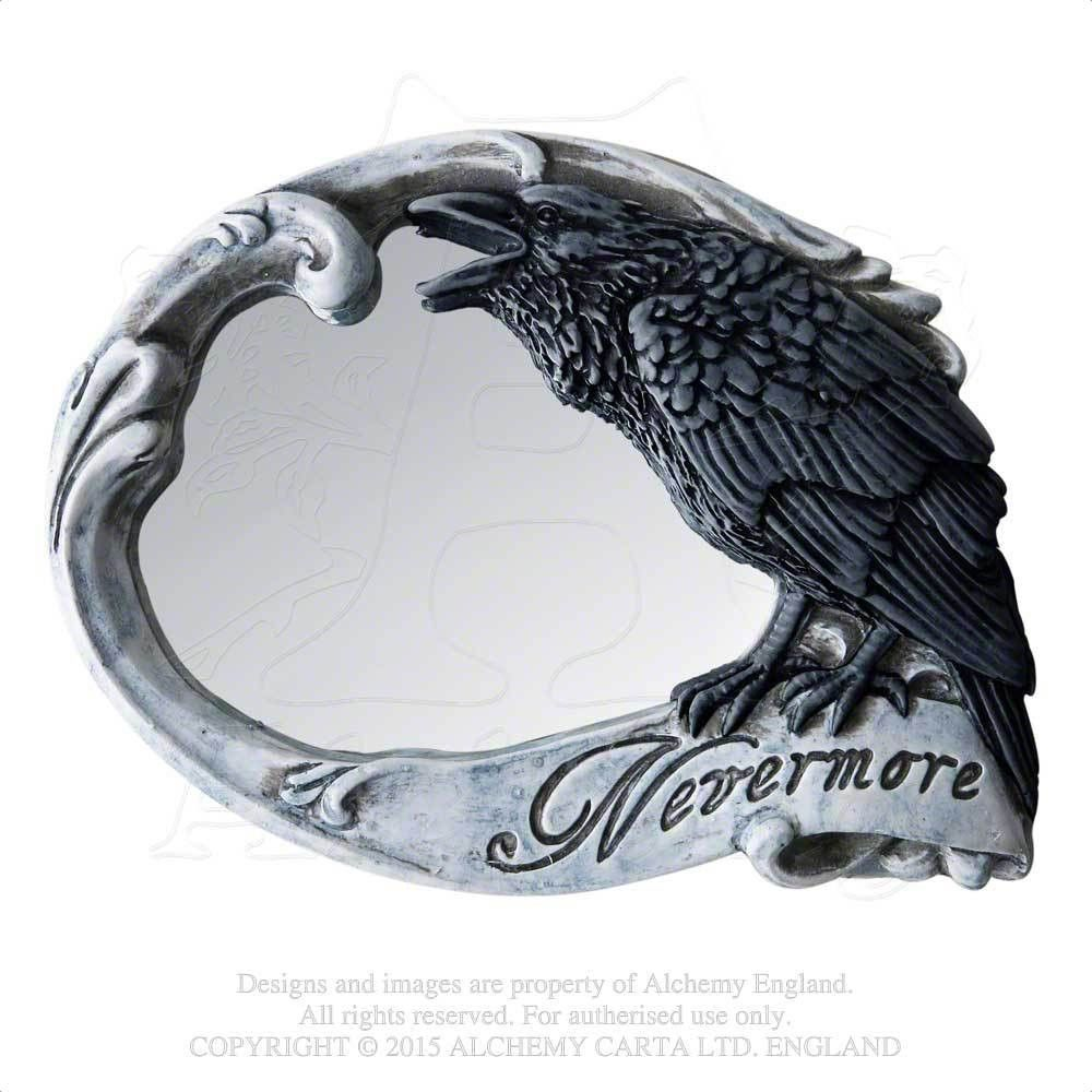 """- Poe's Raven Nevermore Compact Mirror - Alchemy Gothic Raven Mirror with Skull and Rose. - Gaze upon your mortal reflection under the scrutiny of Poe's mocking Raven. - Size: Width 3.5"""" x Height 2.7"""""""
