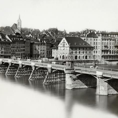 size: 16x16in Photographic Print: Mittlere Brucke over Rhine River in Basel : Entertainment