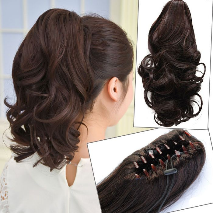 Details About Short Wavy Curly Hair Ponytails Claw Clip In