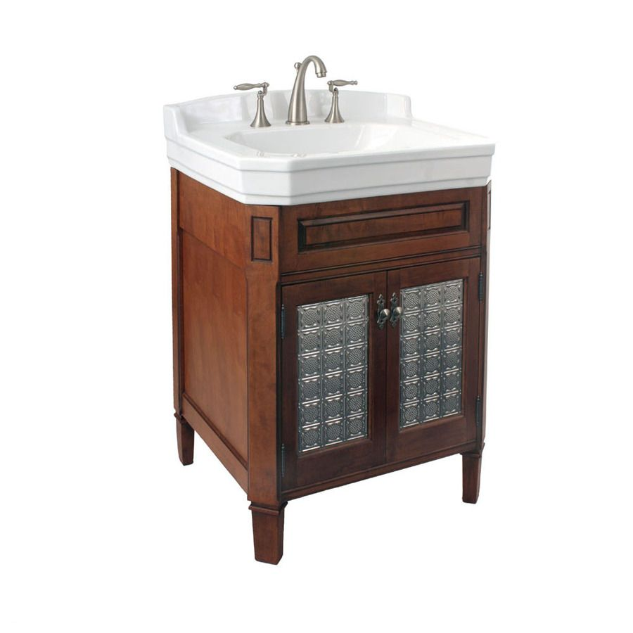 Shop river 39 s edge whitehall lane 25 in x 22 5 in cinnamon - Lowes single sink bathroom vanity ...
