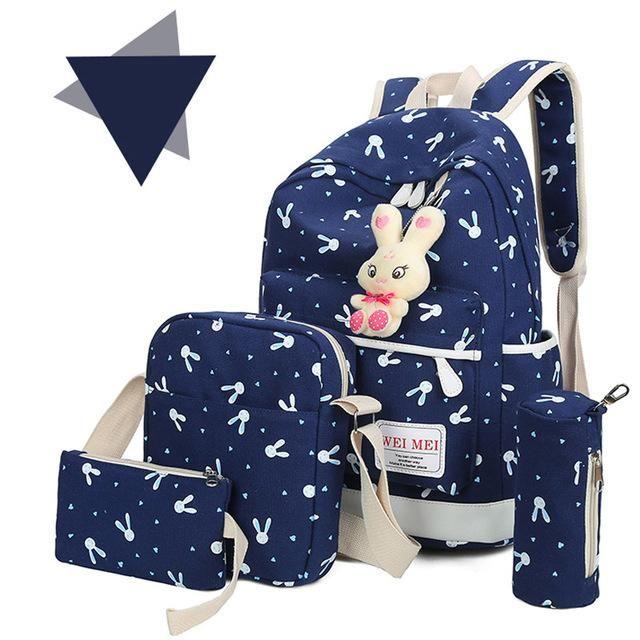 Hot Sale Composite Bags School Backpack+Shoulder Bag Fashion High Quality  Canvas School Bag New 59d21da677a34