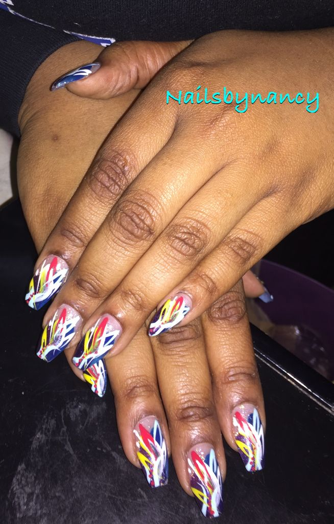 01152016 My nails. Coffin shaped with stiletto shaped pinky. Custom freehand design by Nancy. Happy Nails in Woodbridge,VA