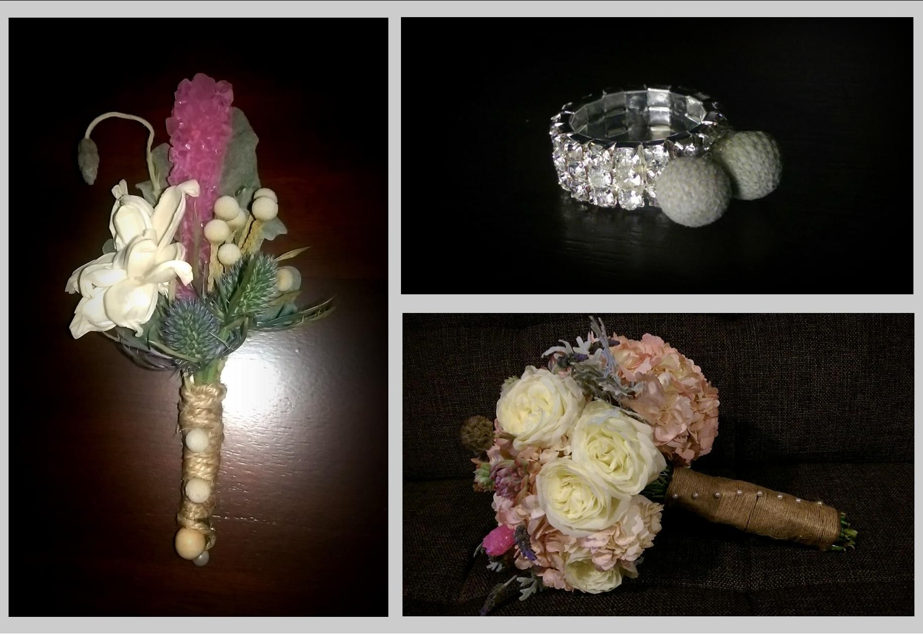 Fun carnival-inspired floral suite -- silver brunia berries rhinestone ring (in place of the traditional corsage), bouquet and boutonniere complete with pink bubblegum rock candy, sola pea flower, brunia berries, hydrangeas, garden roses, blue thistle, dusty miller, and lavender wrapped in twine