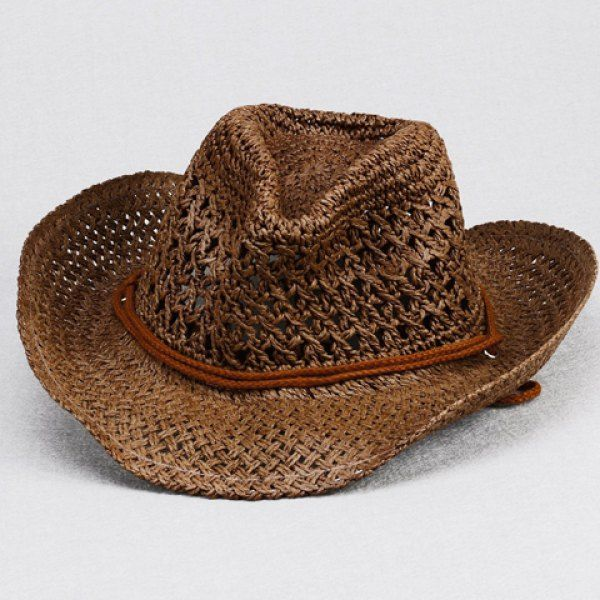 3bbf551c25f Stylish Drawstring Embellished Openwork Crochet Hook Straw Hat For ...