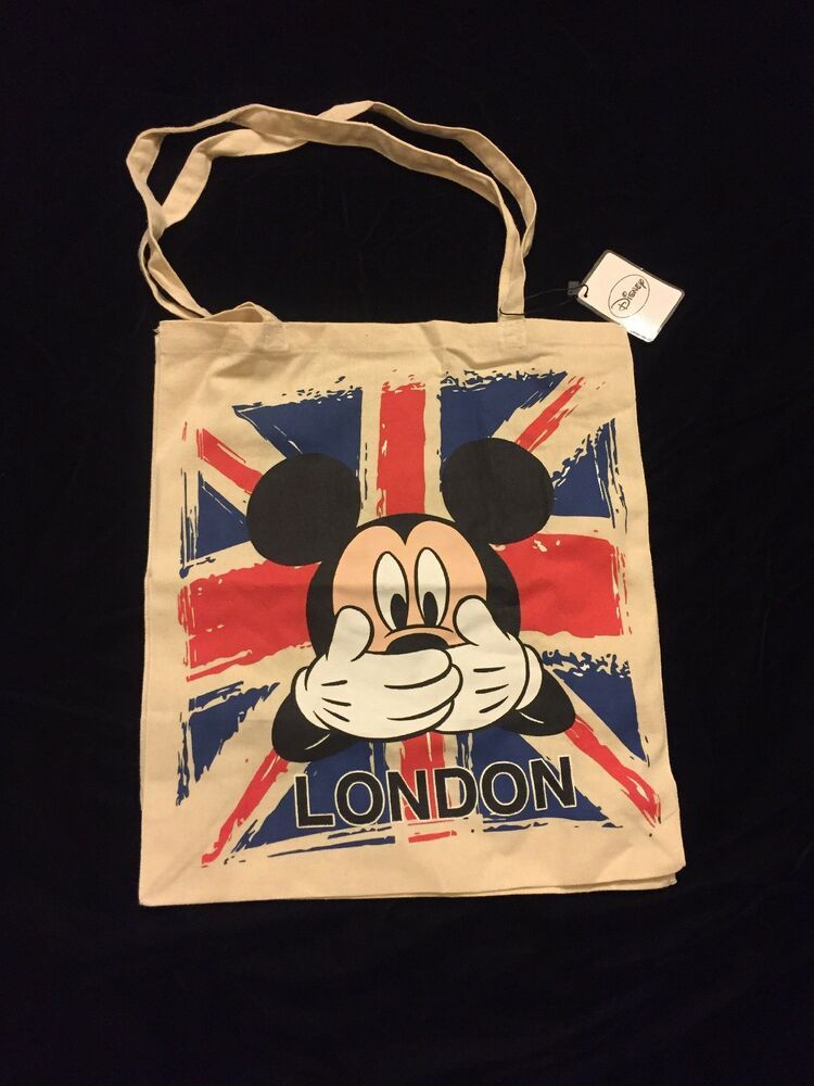 Primark London Mickey Mouse Tote Bag Union Jack Cotton Cloth Disney New Flag 5054269274066 Ebay Mickey Mouse And Friends Christmas Tote Bags Mickey Mouse