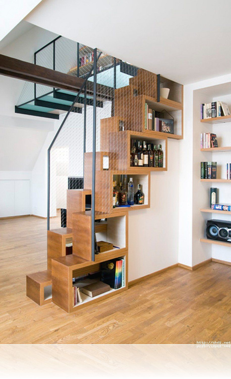 Small Apartment Interior Decoration Using Glass Stair Railing Including  Light Oak Wood Small Staircase And Light