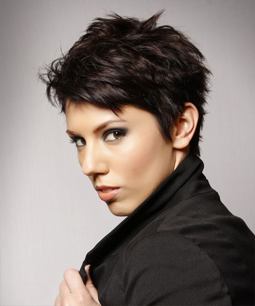 Layered  Dark Mocha Brunette Pixie  Cut
