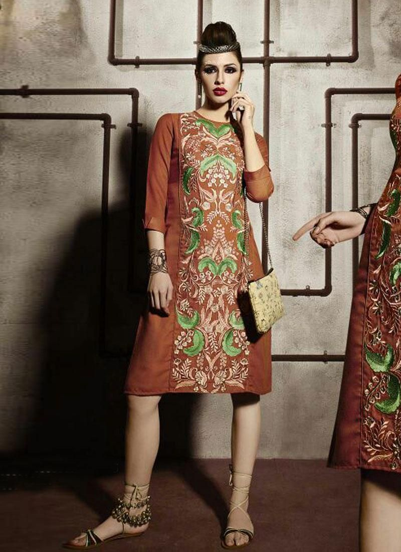 Buy orange kurti for women clothing online in india | Latest Kurti ...