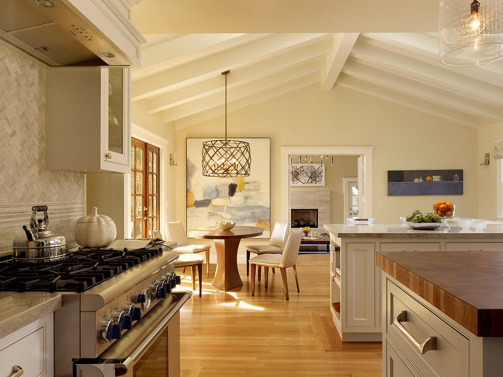 Cathedral Ceiling Lighting Ideas Suggestions Kitchen Transitional With Round Dining Table Stainless Steel Appliances