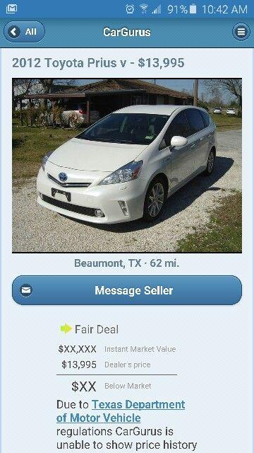 2012 Toyota Prius V Dealer S Price