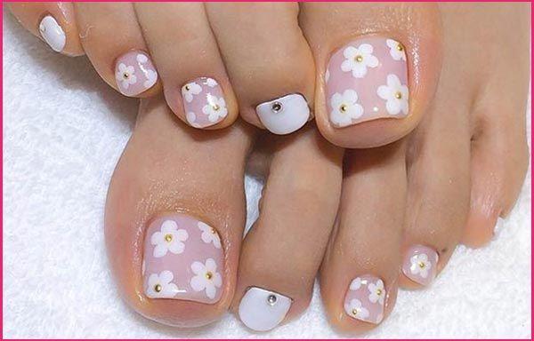 Diseños De Uñas Con Flores Uñas Pinterest Toe Nail Designs