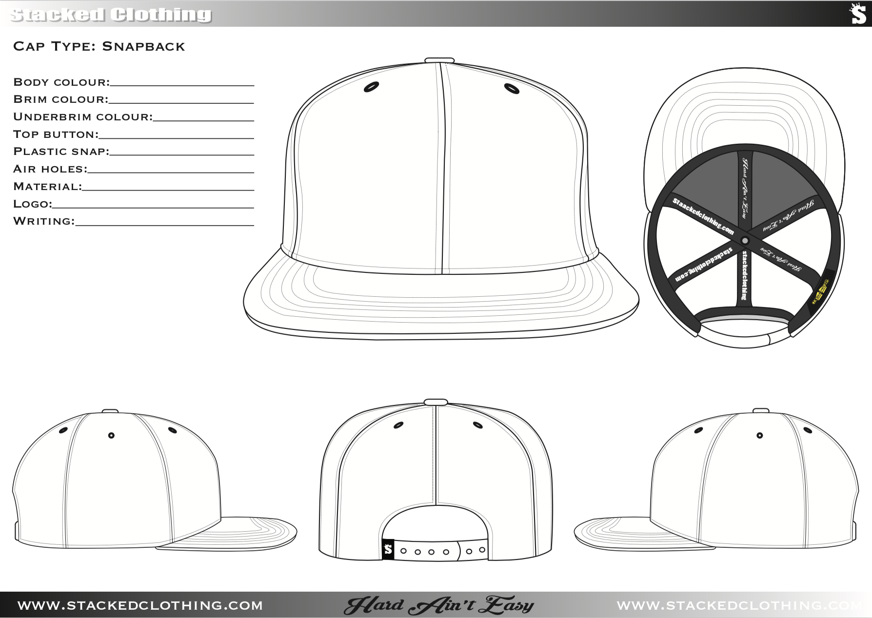 Snapback Template Stacked Clothing 2019 Cap Designs Dad Caps Design