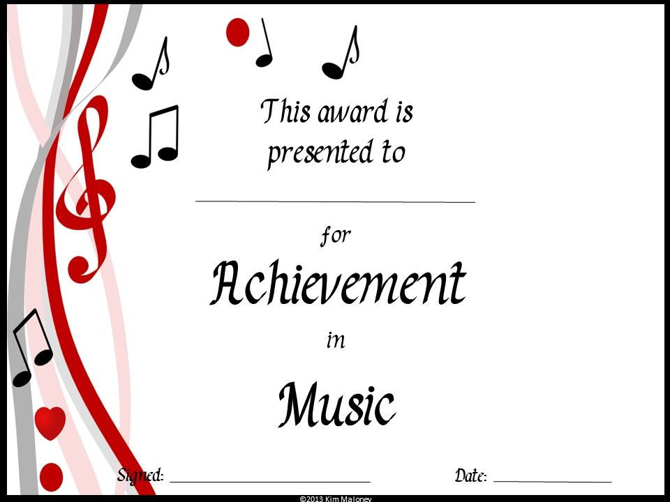 Music Awards Editable Music Award Certificates Ms Garramone