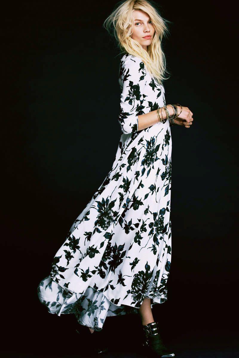 Black and white long floral dress fashion u beauty pinterest