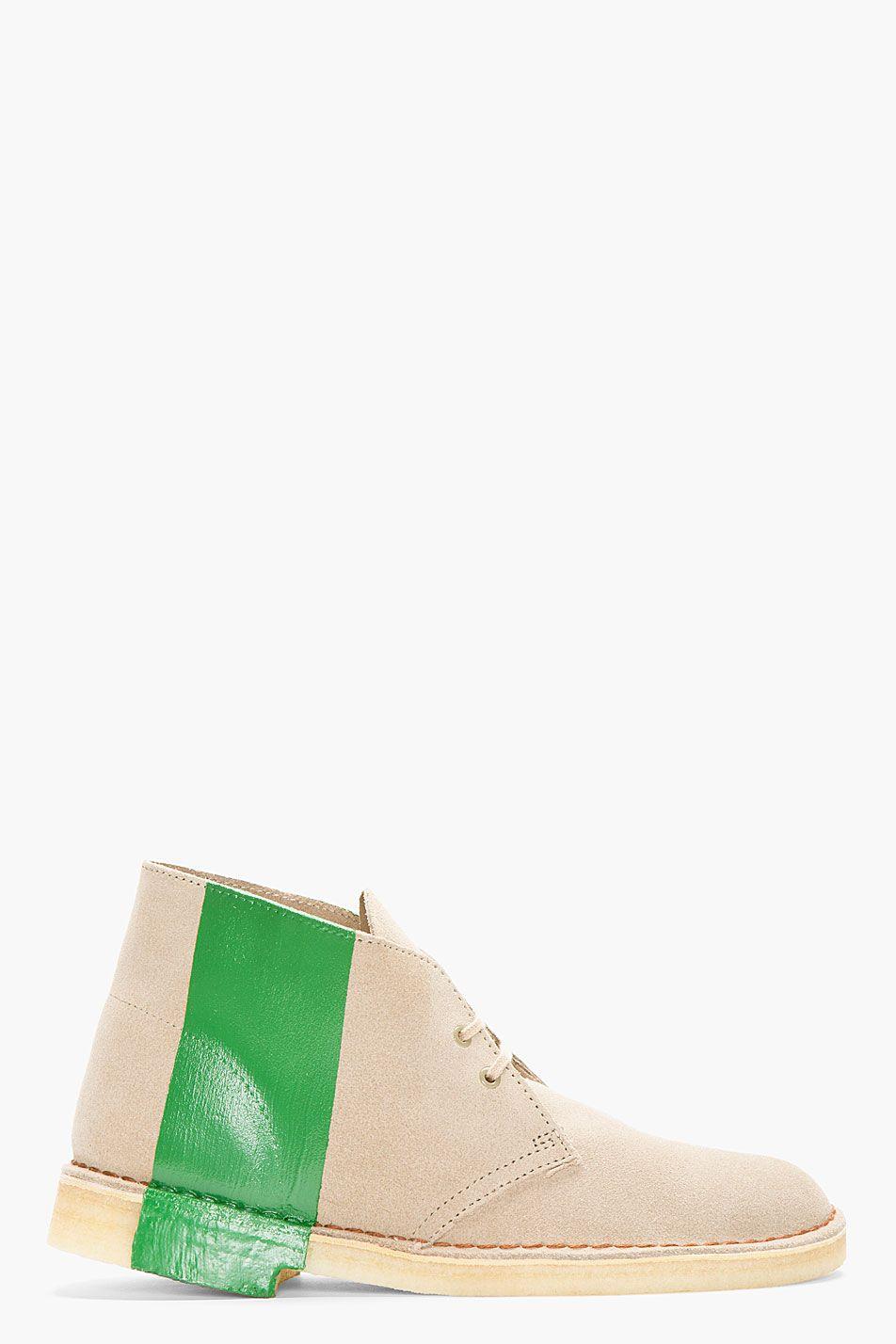 aea681e276dbd8 SACAI Beige Striped Chukka Boots