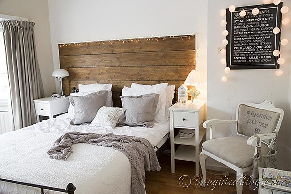 Bedroom decorating in grey and white with a crochet bedspread
