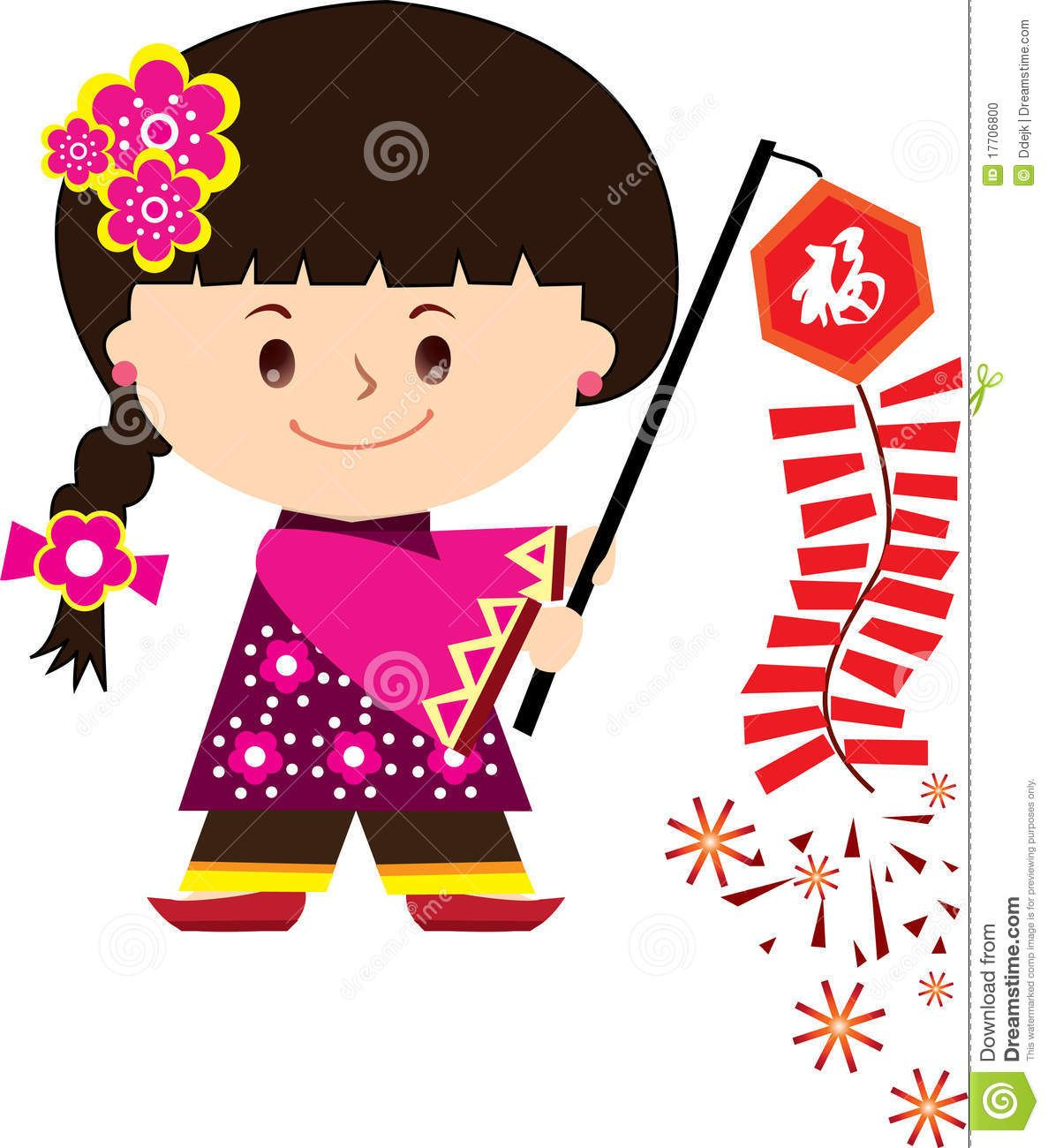 Chinese New Year Celebration Cute girl illustration