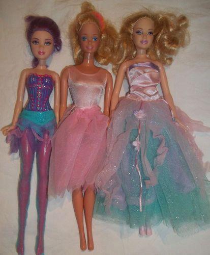 eb20d901957d Barbie Doll Mixed Lot Ballerina Dance Dress Tutu Pink Blue Purple ...