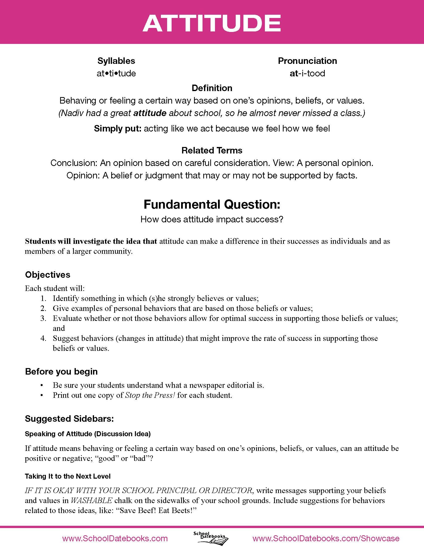 attitude character lesson plan free downloadable 52 total