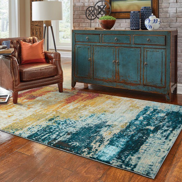 Modrest Abstract Blue/Red Area Rug Linda Pinterest Office