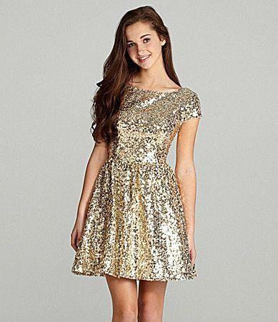 Short sleeve formal dresses gold cheap
