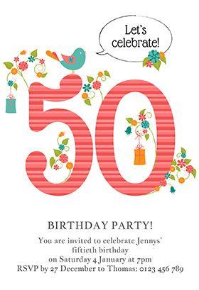 Womens 50th elegant birthday printable invitation customize add womens 50th elegant birthday printable invitation customize add text and photos filmwisefo Choice Image