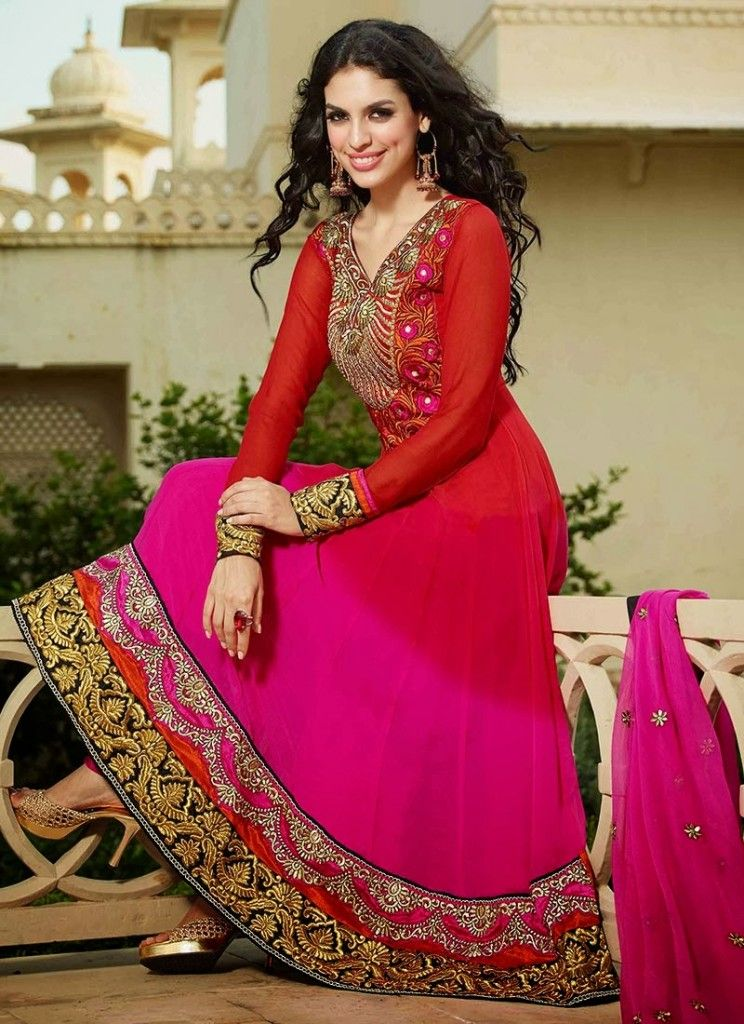eadeeb8665 New Indian Fashion Long Shirt Anarkali Dresses for Girls 2014-2015 Fancy  Embroidered Collection (23)