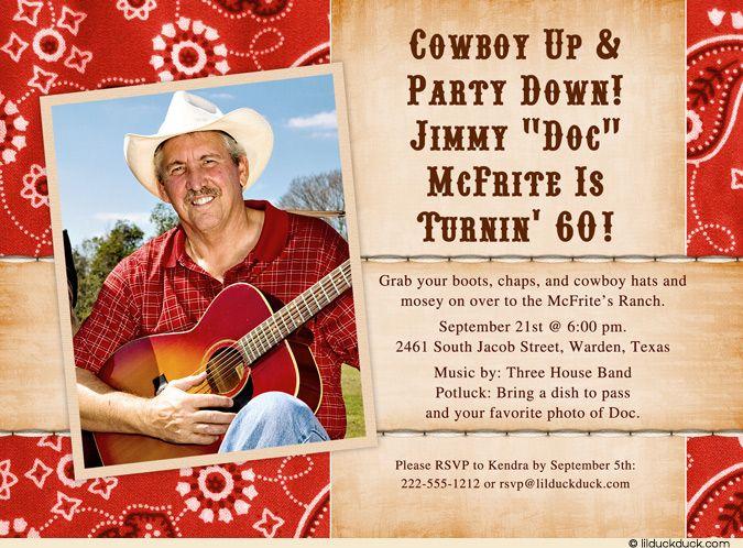 Country Birthday Party Ideas Adult Cowboy Birthday Invitation - sample invitation wording for 60th birthday