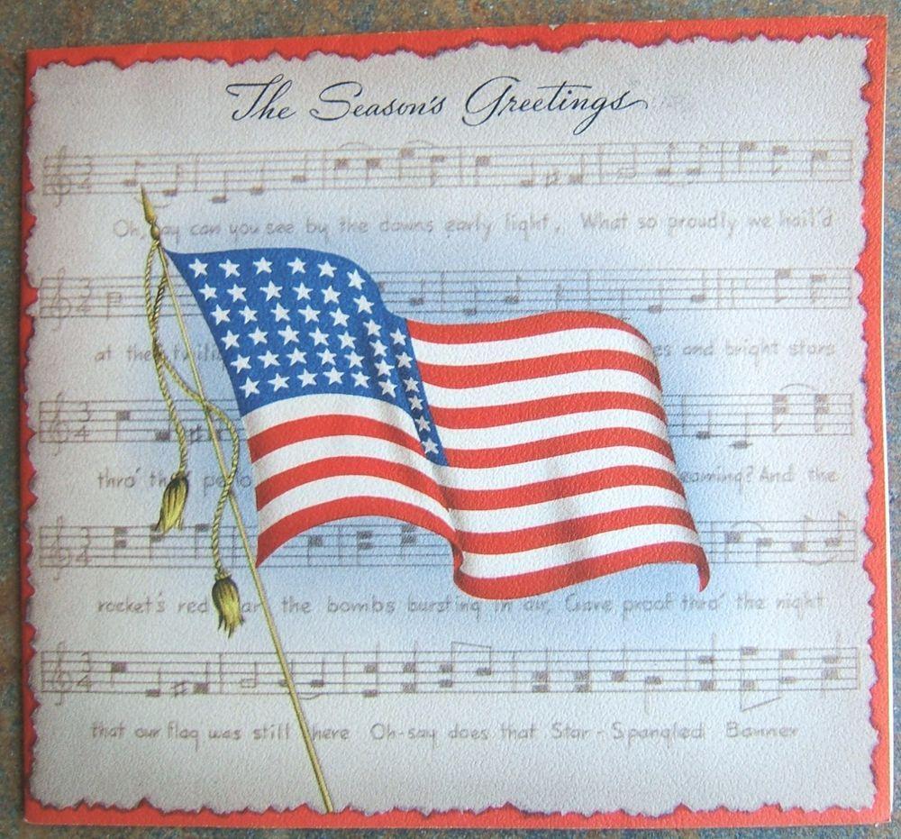 Vintage star spangled banner american flag merry christmas check out vintage star spangled banner american flag merry christmas greeting card 1942 http kristyandbryce Images