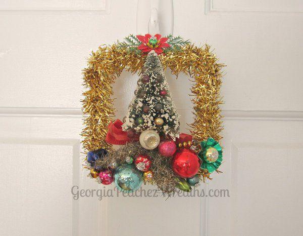 Image of Mini Wreath Vintage Bottle Brush Corsage Christmas