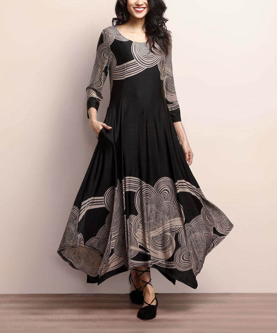 Loving this black u taupe cloud handkerchief maxi dress on zulily