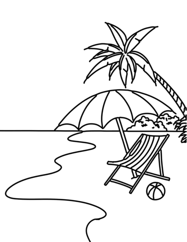 Summer Beach Scene coloring page from Beach category