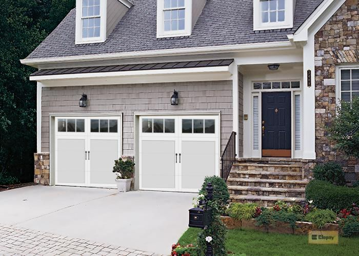 Clopay Coachman Door Design 11 White On White Window Rec 13 Spear Lift Handles No Step Handle No H Garage Doors Garage Door Makeover Garage Door Design