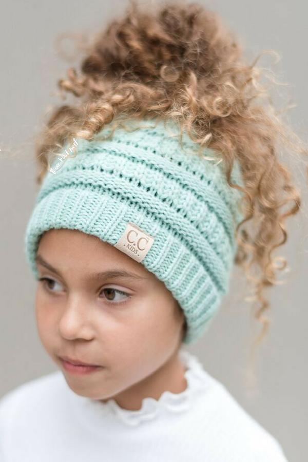Kids Messy Bun Beanie Hat - Mint #kidsmessyhats Kids Messy Bun Beanie Hat - Mint #kidsmessyhats