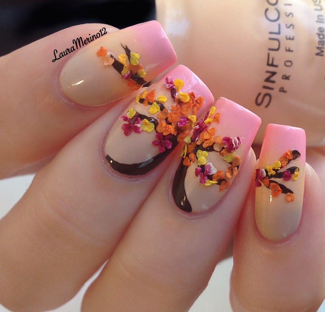 Easy Tutorial- Fall inspired Nails   Fall Nail Art 🍁🍂   Pinterest ...