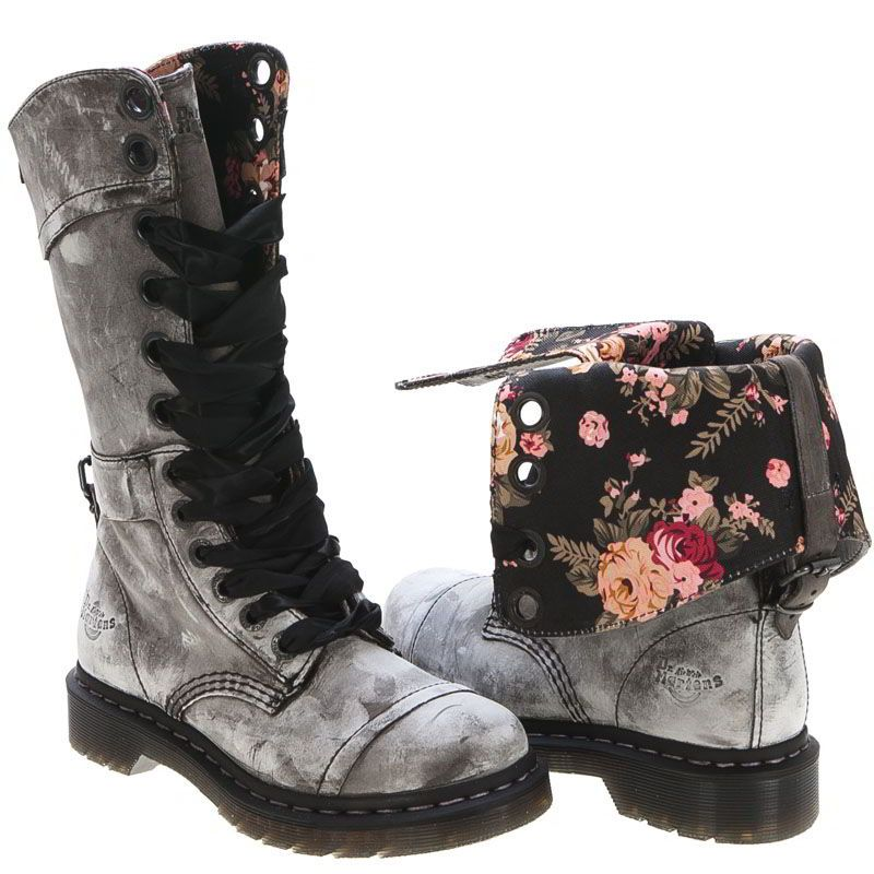 Shoes Skull Cross and Rose Lace Up Martin Boots For Women