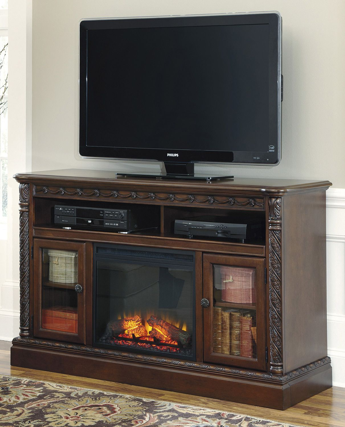 North Shore TV Stand with Fireplace by Ashley Home Gallery