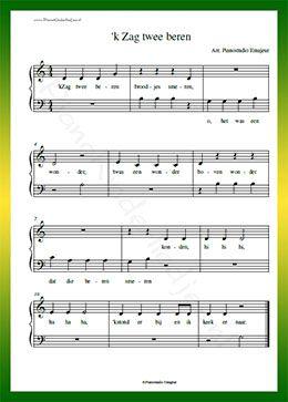 Verwonderlijk k Zag twee beren - Gratis bladmuziek van kinderliedjes in NZ-49