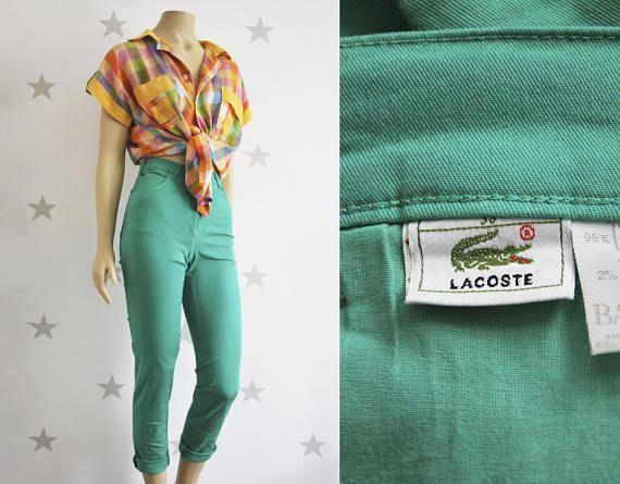 Vintage LACOSTE jans 1990s green lacoste jeans female