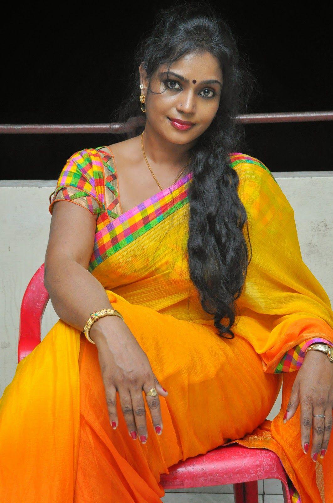 Jayavani glam pics in saree-HQ-Photo-3   Yellow saree ...
