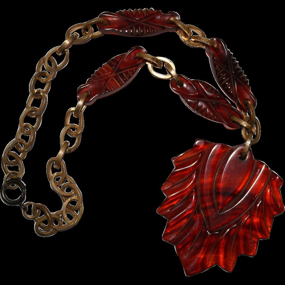 Vintage Bakelite Necklaces | Vintage Carved Leaf Bakelite Brass Necklace from jenandivintagejewels ...