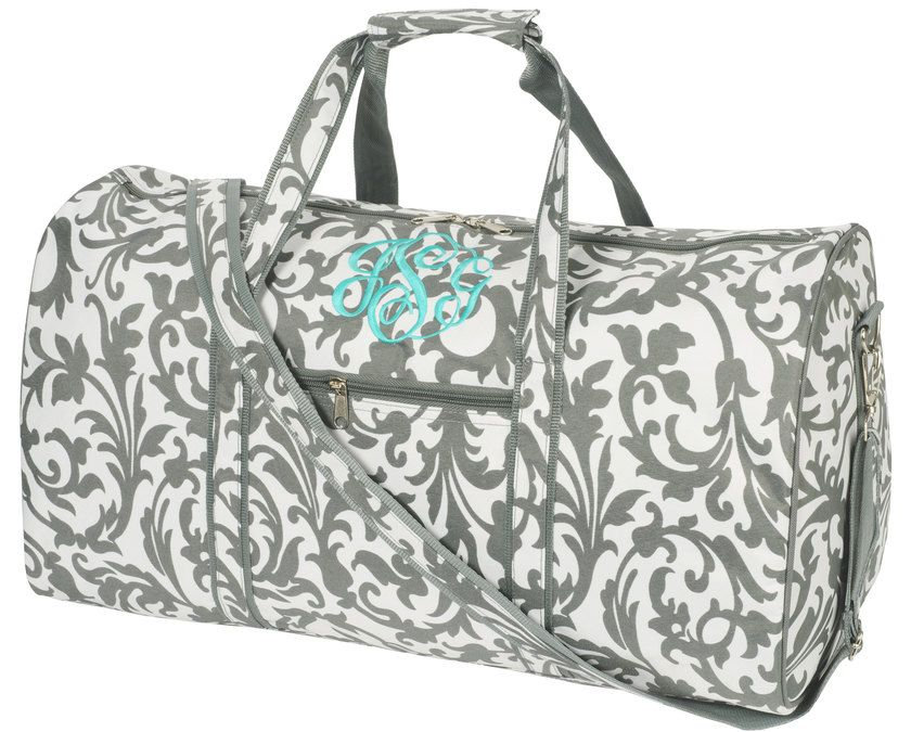 Personalized Womens Grey Floral Large DUFFLE BAG Monogrammed With Your Initials Size