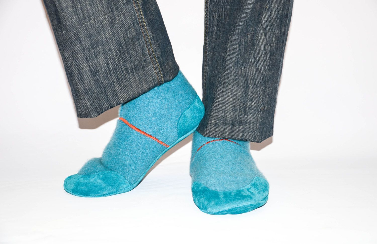 Men Cashmere Shoes Men Felted Wool Slippers Men Cottage Socks with Suede Leather Soles