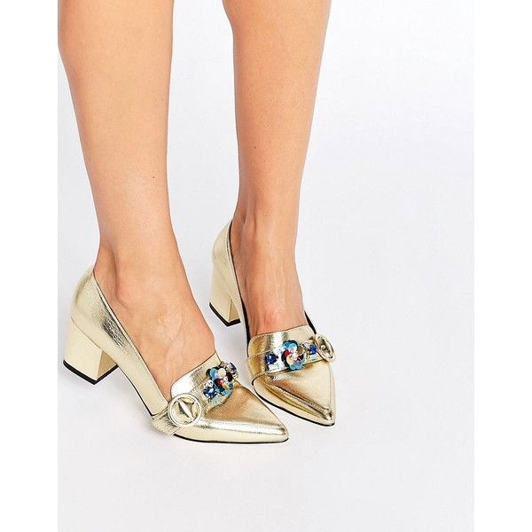 ASOS SMOKIE Embellished Heeled Loafers (£49) ❤ liked on Polyvore featuring shoes, loafers, gold, asos, colorblock shoes, slip on shoes, mid-heel shoes and asos shoes