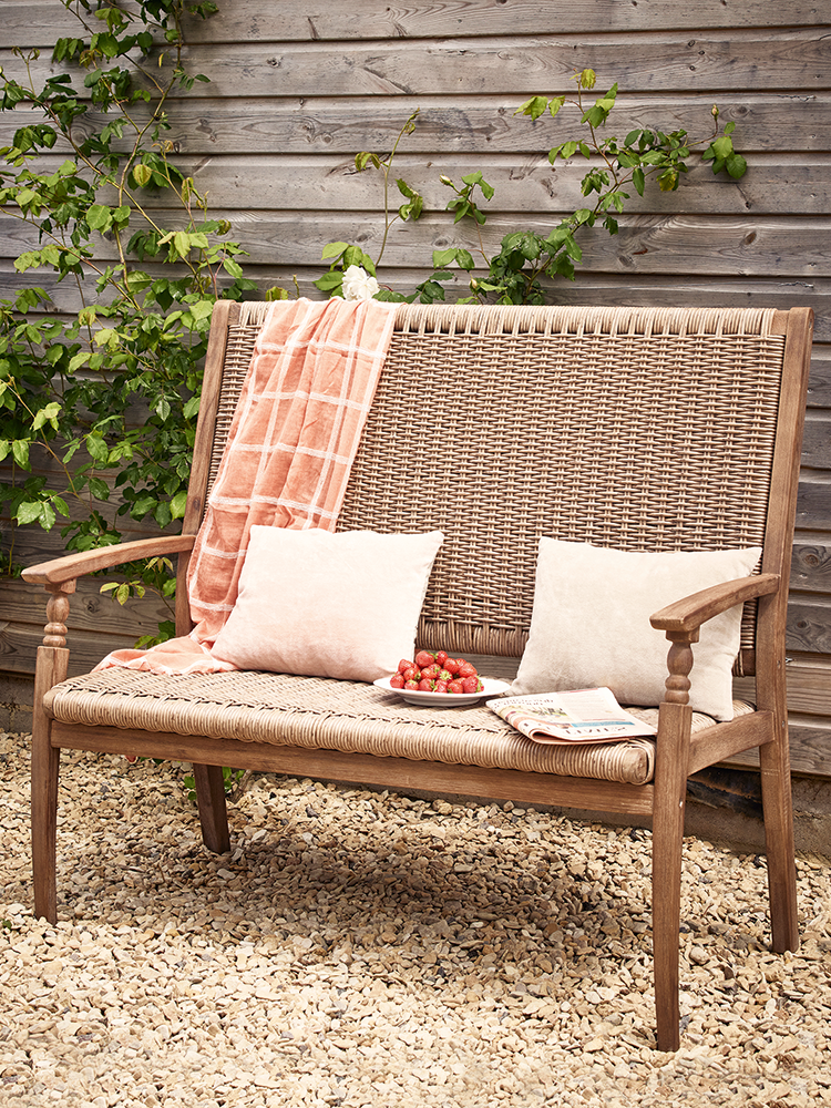 New Acacia Weave High Backed Bench Medium Luxury Garden Furniture High Back Bench Wooden Garden Chairs