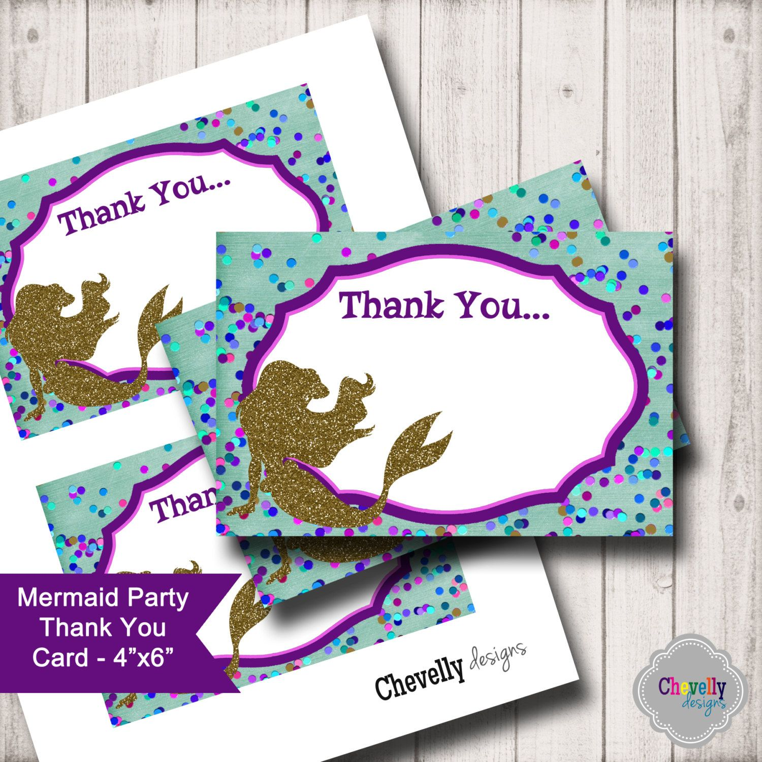 Mermaid Printable 4x6 Flat Thank You Card - TY006 by ChevellyDesigns on Etsy